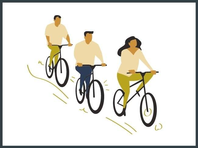 Segunda ley de Newton, ejemplo con bicicletas