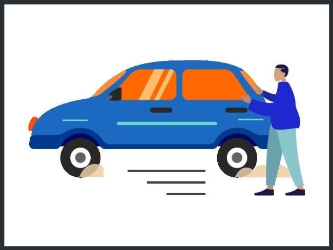 Segunda ley de Newton, ejemplo empujando auto
