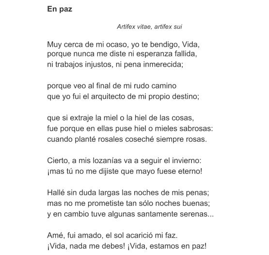 Significado del Poema En paz de Amado Nervo - Qué
