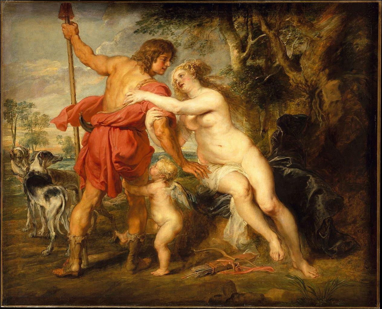 Venus y Adonis, de Rubens. Mitología griega